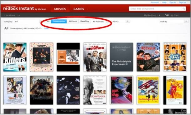 Redbox Instant Streaming Service User Interface