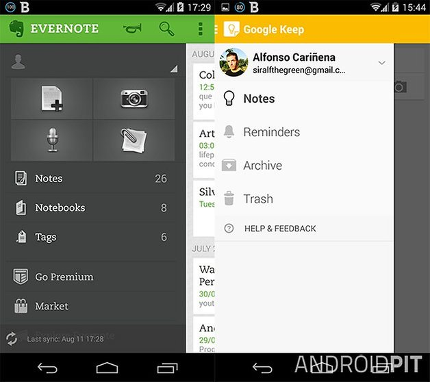 evernote keep menus