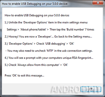 Nexus racine toolkit debogage usb