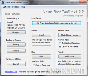 Nexus racine toolkit installation