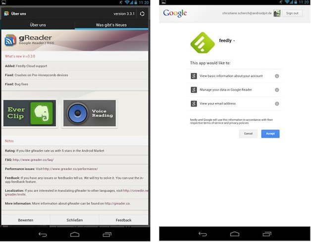 greader feedly screenshots