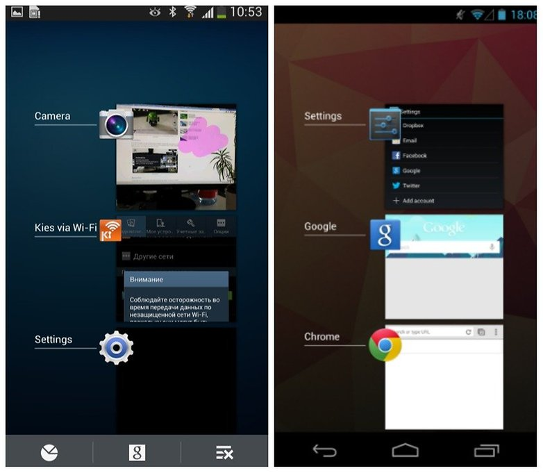 touchwiz android recently opened apps