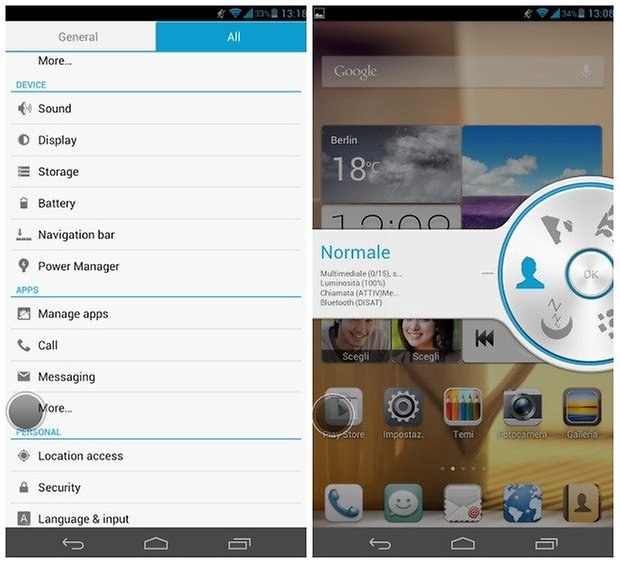 Huawei Ascend Mate settings