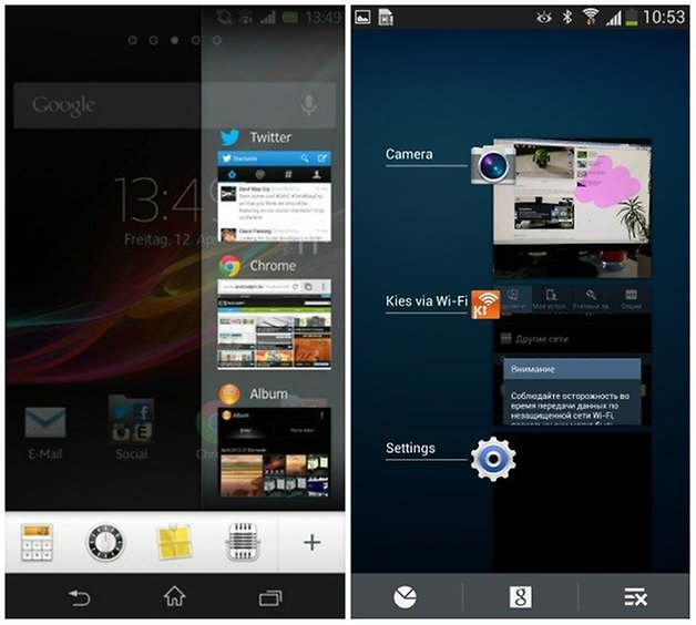 xperia touchwiz recently opened apps