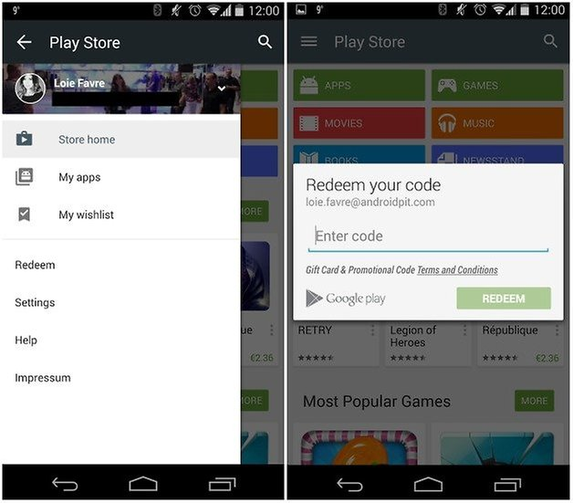 androidpit google play store redeem credit