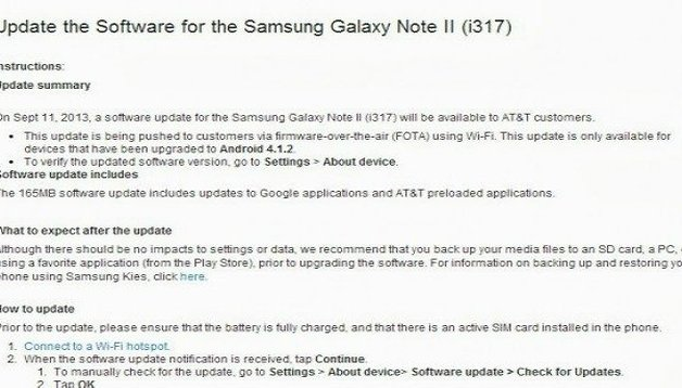 AT&T Galaxy Note 2 gets OTA update: big but insignificant
