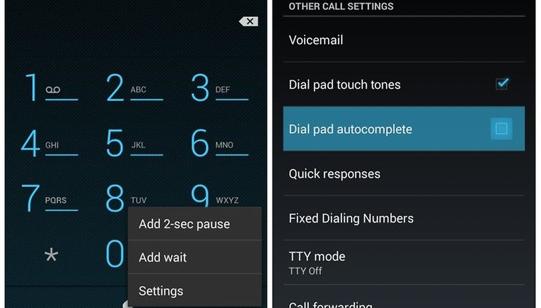 How to activate dial pad autocomplete on Android 4 3