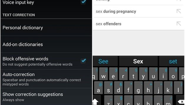 Is Android a prude? How to disable Google Keyboard obsene