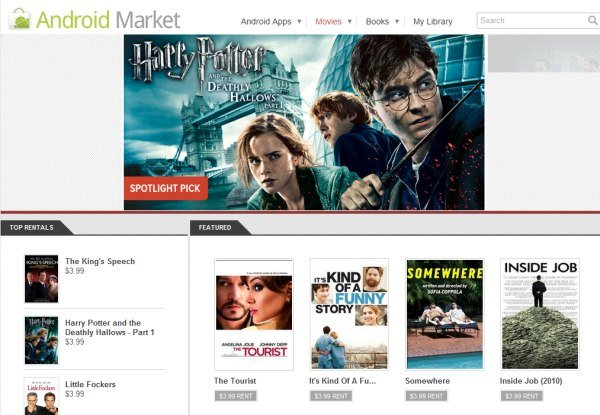 Google Market Movie Rentals