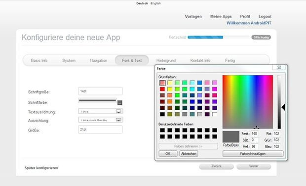 BauDeineApp Interface klein
