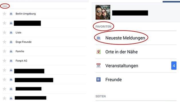 """Facebook für Android: """"Neueste Meldungen"""" aus den Feeds verschwunden"""