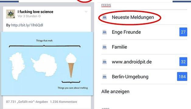 Facebook-App: So lassen sich die neuesten Meldungen anzeigen [UPDATE]