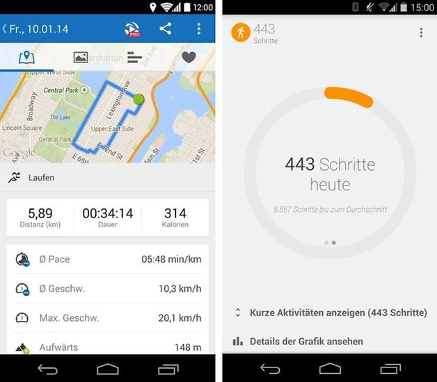 google fit runtastic screens