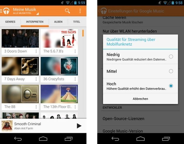 google play music datenvolumen klein
