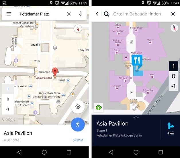 here vs maps malls