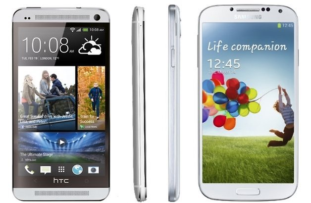 htc one galaxy s4 front