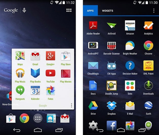 nova launcher 3 folder honeycomb search app drawer transparency