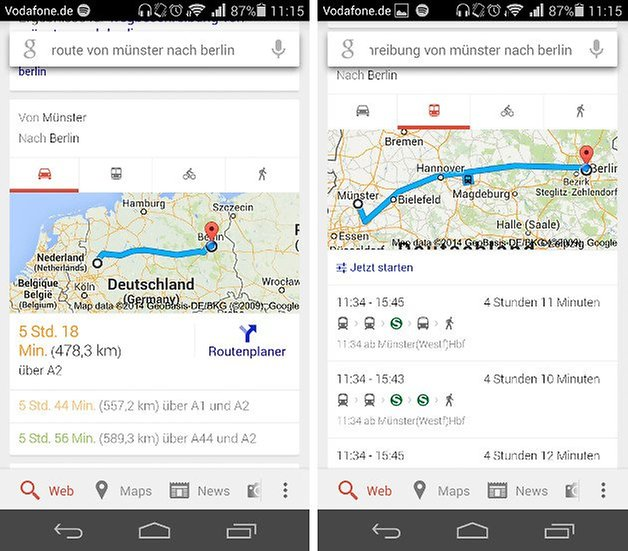 google maps websuche route transportmittel screenshots