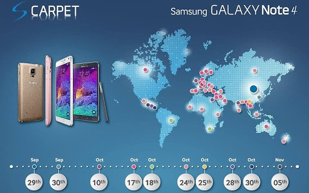 samsung galaxy note 4 launch dates map