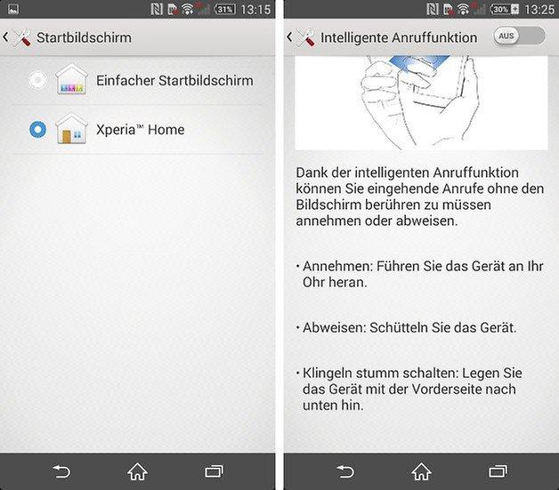screenshot z2 gesten einfacher bildschirm