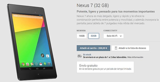 Nexus7 enviogratis