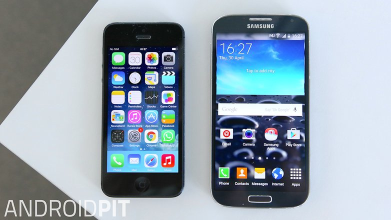 apple iphone 6 samsung galaxy s4 front screen display