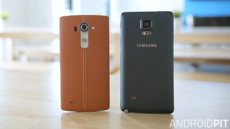 lg g4 samsung galaxy note 4 back