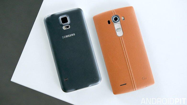 lg g4 samsung galaxy s5 back