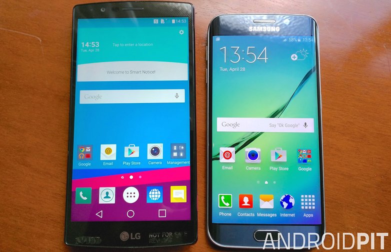 lg g4 samsung galaxy s6 edge front display