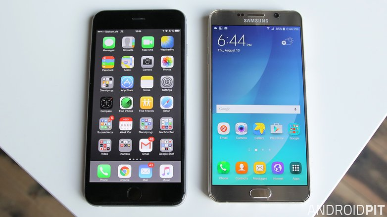 samsung galaxy note 5 iphone 6 plus screen