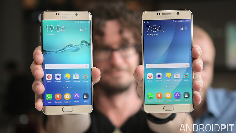 samsung galaxy note 5 vs galaxy s6 edge plus screen front