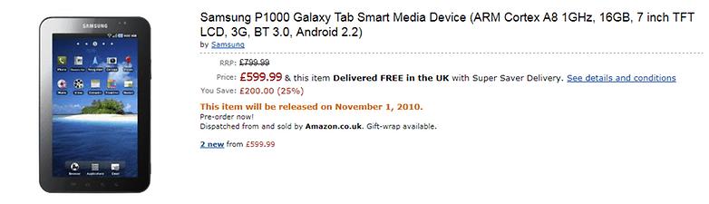 Galaxy Tab für £200 weniger