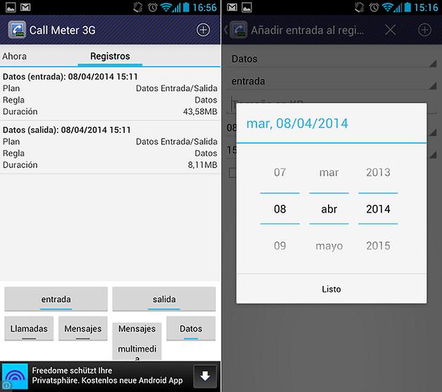 CallMeter3G Registros Entrada