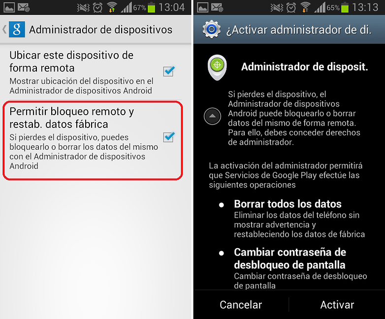 Administrador Dispositivos Google