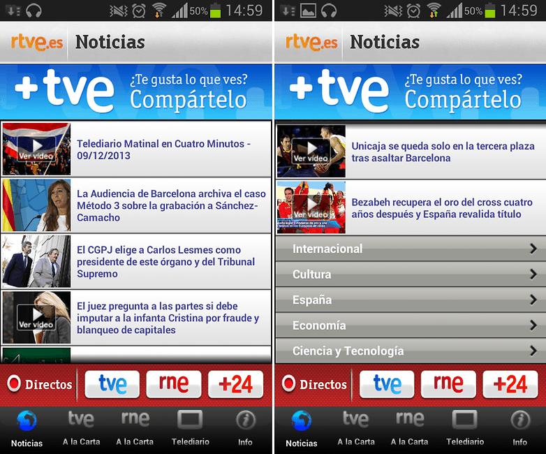 RTVE Menu