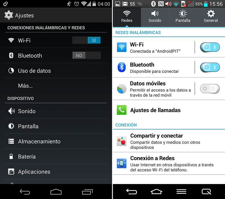 Ajustes Nexus5 LG G2