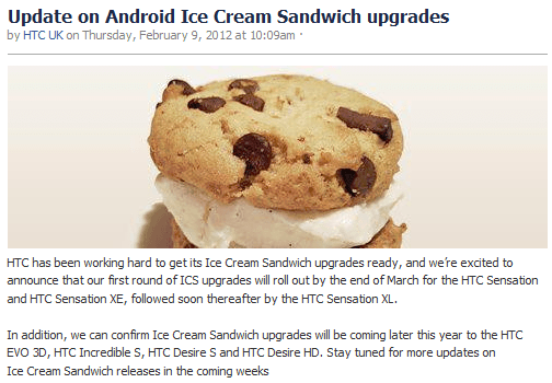 HTC Ice Cream Sandwich Update Official Statement