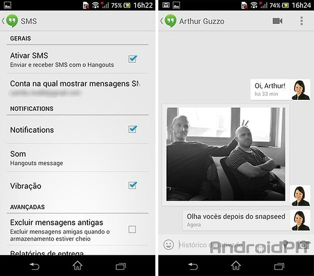 Hangouts sms android