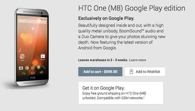 HTC One M8 Google Play Edition já pode ser adquirido na Play Store