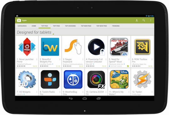 tablets play store designed for tablets