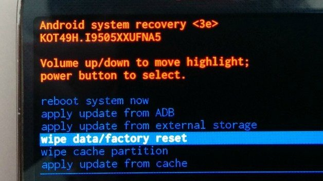 ANdroidPIT Recovery Menu Factory Reset