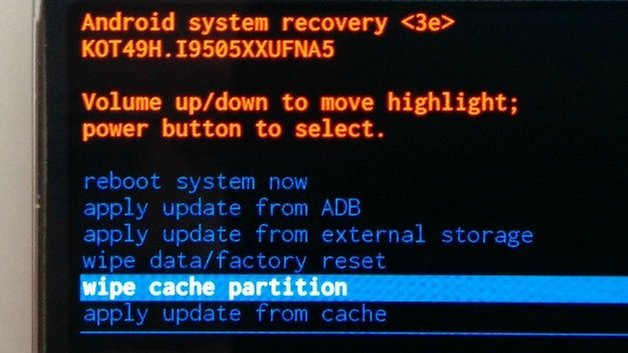 AndrodiPIT Recovery Menu Wipe Cache Partition
