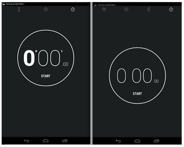 Android 44 KitKat clock comparison