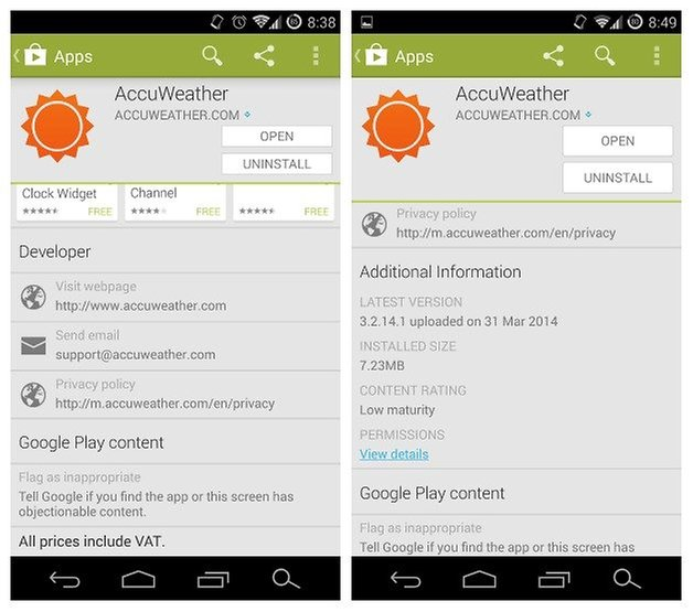 AndroidPIT Accuweather Additional Information