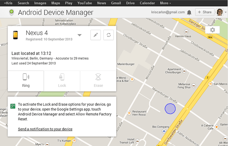 AndroidPIT Android Device Manager Remote Lock