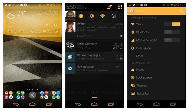 AndroidPIT CM11 Themes Yellow Gold