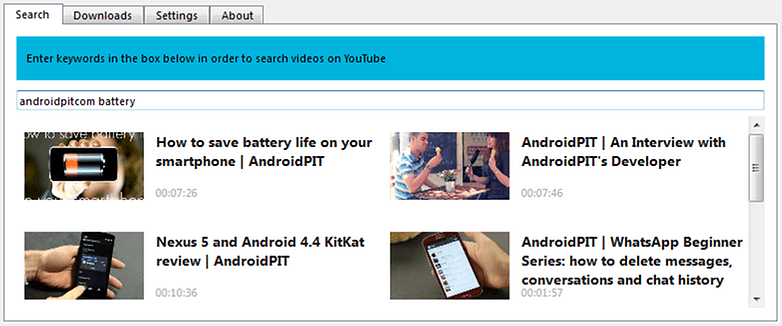 AndroidPIT ClipGrab Search