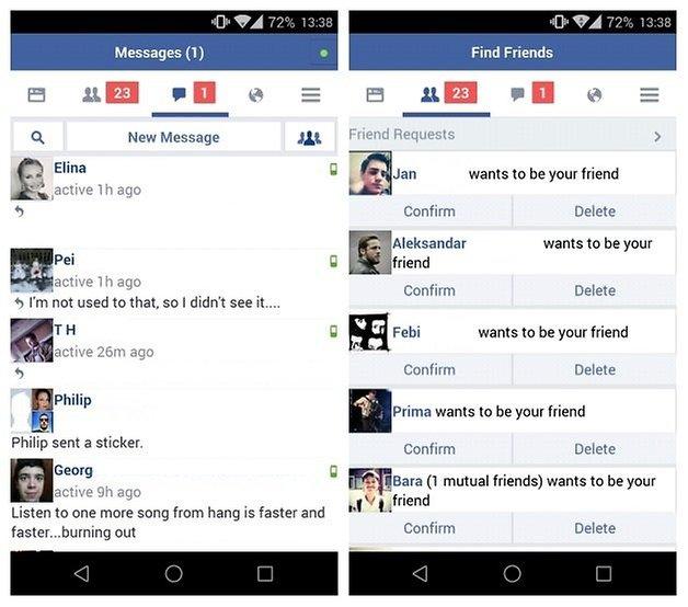 AndroidPIT Facebook Lite messages friends