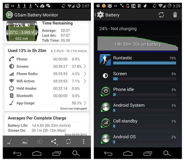 AndroidPIT GSam Battery Runtastic