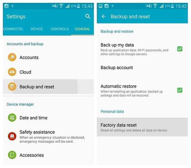 AndroidPIT Galaxy Note 3 Android 5 0 Lollipop Settings Factory Reset